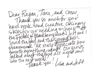 thank you note from bride and groom